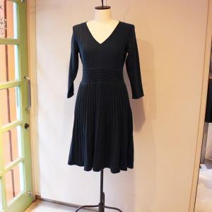Aラインニットワンピース セーターギャザードレス 膝丈 インポート|modisteclub
