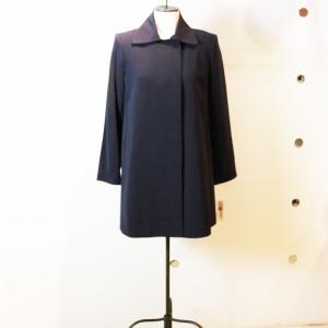 Aライン 紺 ステンカラーコート キレイ目系 レディース インポート|modisteclub