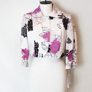 紫陽花柄 クロップドジャケット 7分袖 花プリント インポートUSA|modisteclub