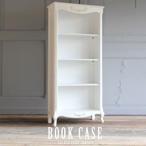 キャビネット アンティーク 本棚 ブックシェルフ ロココ 姫系 猫脚  ホワイト 白  Lサイズ 5083-L-18の写真