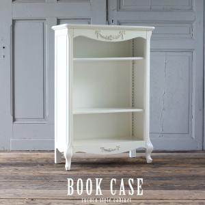 キャビネット アンティーク 本棚 ブックシェルフ ロココ 姫系 猫脚  ホワイト 白 Sサイズ 5083-S-18の写真