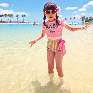 【KID'S】【3点セット】帽子付きパフスリーブTシャツ風キッズ水着 水着 女の子 キッズ セパレート ストライプ柄 パフスリーブ Tシャツ 帽子 カジュアル moha