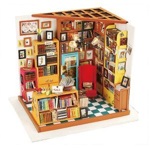 ドールハウス ミニチュア 手作りキットセット おしゃれなお店 LEDライト付属 ( 天井まで本でいっぱいの本屋さん )