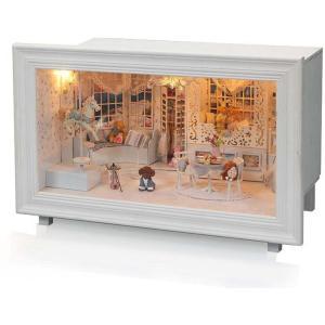 ドールハウス ミニチュア 手作りキット セット プリンセスのお部屋 犬 トイプードル テディベア バイオリン LEDライト + オルゴール付