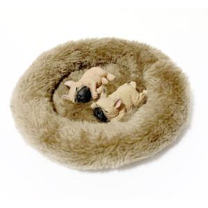 フィギュア マグネット 犬 わんこ ふわふわ ベッド付 ドッグ リアル 本物そっくり 磁石 ( すやすやフレンチブルドッグ( フォーン ) 2匹 )