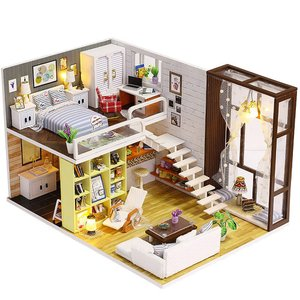 ドールハウス ミニチュア 手作りキット セット 現代モダン モデルルーム風 インテリア二階建ての家 ( LEDライト + アクリルケース 付属 )