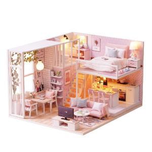 ドールハウス ミニチュア 手作りキット 現代モダン モデルルーム風 インテリア お洒落な二階建ての家 LEDライト + アクリルケース ( felice( フェリーチェ ) )