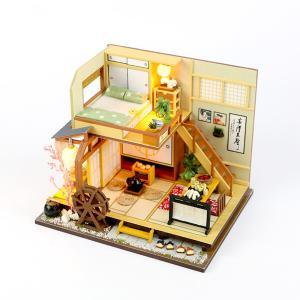 ドールハウス ミニチュア 手作りキット セット 風情のある 和風 シリーズ 和 日本 初心者向け LEDライト + 工具セット 付 ( 軽井沢の別荘 )