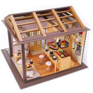 ドールハウス ミニチュア 手作りキット 回らないお寿司屋さん 寿司 和食 和風 360度 楽しい LEDライト + アクリルケース + 工具付
