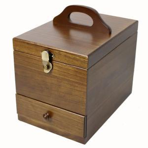 送料無料 日本製 木製コスメボックス メイクボックス 顔全体が映り易い縦長ミラー 017-513 ダークブラウン 茶谷産業の写真