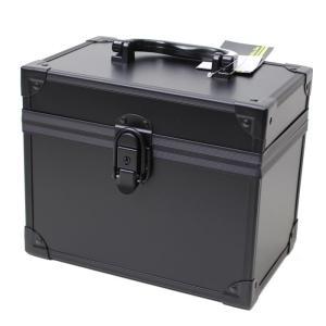 小物の収納に便利!鍵付き! ブラックアルミBOX 2977-01 メイクボックス コスメボックスの写真