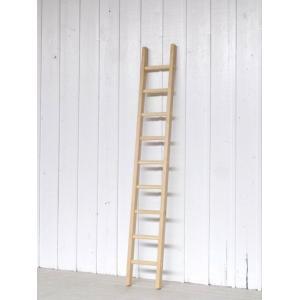 小さな木製梯子(はしご)9段1.94m 白木丸棒タイプ・ハシゴ・ラダー・ロフト