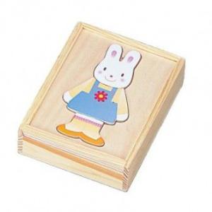 着せ替えパズル うさちゃん うさぎ  木のおもちゃ 2歳 3歳 女の子 誕生日プレゼント|mokuguru