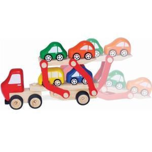 カーキャリアトラック ブルーリボン はたらく車 木のおもちゃ 2歳 3歳 誕生日 プレゼント|mokuguru