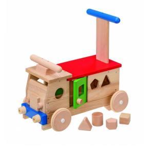 カラフルバス 赤ちゃん 手押し車 出産祝い おもちゃ 乗用玩具 1歳 誕生日 プレゼント|mokuguru
