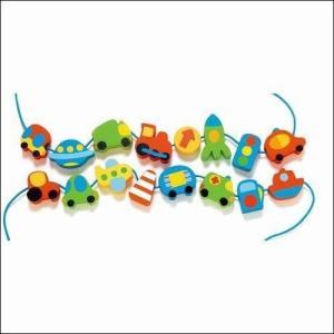 ひも通し 知育玩具 ビーズビークル 乗り物 車 飛行機 3歳 4歳 誕生日 プレゼント|mokuguru