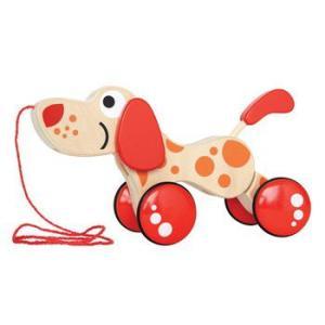 犬のプルトーイ  ウォークアロングパピー 木のおもちゃ 出産祝い 1歳 2歳 誕生日 プレゼント|mokuguru