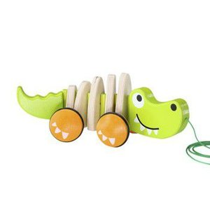 ワニのプルトーイ ウォークアロングクロコダイル 出産祝い 1歳 誕生日 プレゼント 木のおもちゃ|mokuguru