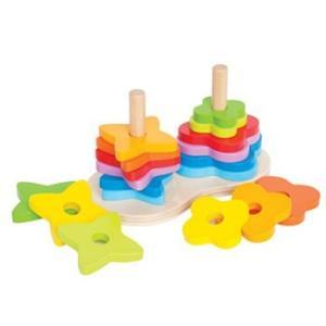 ダブルレインボースタッカー  木のおもちゃ 知育玩具 1歳 2歳 誕生日 プレゼント|mokuguru