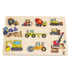 ワーキングカーペグパズル はたらく車 つまみ付き パズル 2歳 誕生日 プレゼント mokuguru