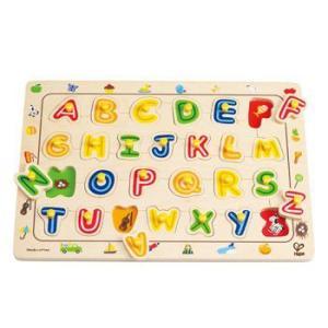 ABCマッチングパズル 英語 アルファベット つまみ付きパズル 知育玩具|mokuguru