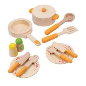 グルメキッチンスターターセット ままごと キッチン 食器 料理道具 木のおもちゃ|mokuguru