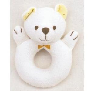 ふわふわベアーラトル オーガニックコットン 赤ちゃん 布おもちゃ 出産祝い プレゼント|mokuguru