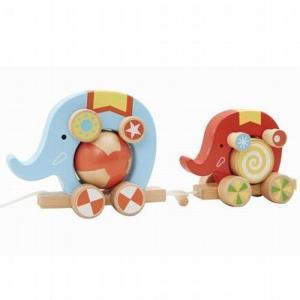 プルトーイ くるくるサーカス ゾウさん 木のおもちゃ 出産祝い 1歳 2歳 誕生日プレゼント|mokuguru