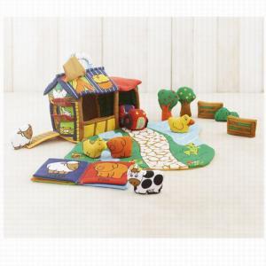 ふわふわファームハウス 出産祝い 赤ちゃん 布おもちゃ 1歳 2歳 誕生日 プレゼント|mokuguru