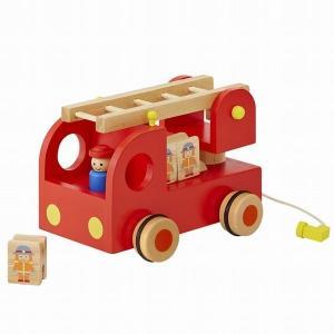 カタカタ 森の消防隊 消防車  はたらく車  おもちゃ 出産祝い 1歳 2歳 3歳 誕生日 プレゼント|mokuguru