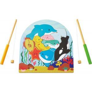 2層パズル・フィッシング さかなつり 木のおもちゃ 2歳 3歳 誕生日 プレゼント mokuguru