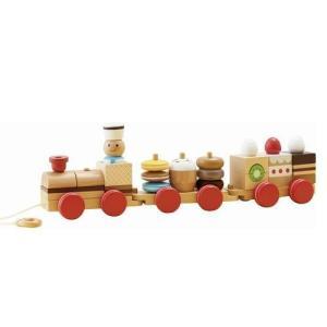 おやつ列車byパティシエ 汽車 積み木 知育玩具 2歳 3歳 誕生日 プレゼント|mokuguru