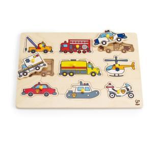 エマージェンシーカー ペグパズル はたらく車 つまみ付きパズル 2歳 誕生日プレゼント|mokuguru