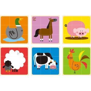 ファームアニマル ブロックパズル キューブパズル 知育玩具 3歳 4歳 誕生日 プレゼント mokuguru