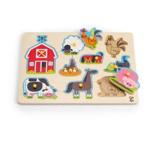 ファームアニマル ペグパズル つまみ付きパズル 知育玩具 1歳半 2歳 誕生日 プレゼント|mokuguru