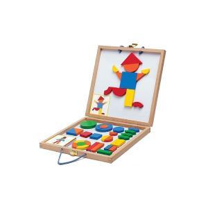 ジオフォームセットボックス 磁石 マグネット 図形 タングラム パズル 3歳 4歳 5歳 知育玩具|mokuguru