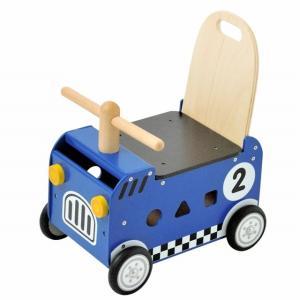 ウォーカー&ライド レースカー ブルー 出産祝い 赤ちゃん 手押し車 乗用玩具|mokuguru