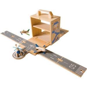 飛行機 ヘリコプター 空港 飛行場 木のおもちゃ ウッドボックス エアポート 2歳 3歳 4歳 誕生日 プレゼント|mokuguru