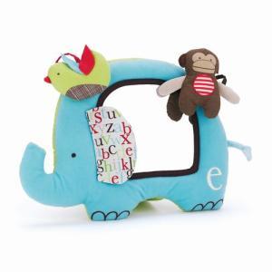 アルファベットズー・アクティビティミラー ぞうさん 布おもちゃ 出産祝い 1歳 誕生日 プレゼント mokuguru