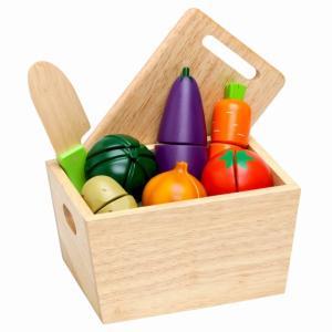 ままごと セット 野菜 木のおもちゃ ファースト カッティングセット ベジタブルズ|mokuguru