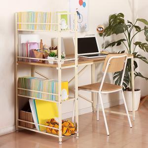 ラック付きデスク ロメロ 幅120cm テーブル PCデスク パソコンデスク 学習机 勉強机 書斎 オフィス ブラウン ナチュラルの写真