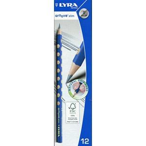リラ LYRA 文具 鉛筆 HB 三角グリップ 持ち方矯正  青 グルーヴスリム HBグラファイト 12本入り|molto-bene