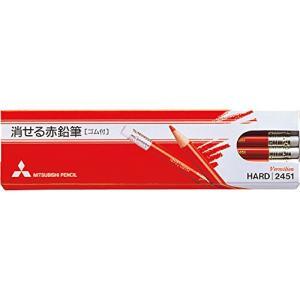 三菱鉛筆 消せる赤鉛筆 2451 ゴム付き 1ダース K2451|molto-bene