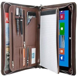 ビンテージ クレイジーホースレザーポートフォリオ iPad用 ハンドメイド パッドフォリオケース ビジネス ジッパー オーガナイザー ドキュメントフォ|molto-bene