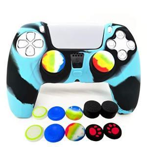 PS5コントローラーグリップ用スキン、Playstation 5用シリコンケースカバー 滑り止めプロテクター、親指ジョイスティックキャップ10個付き molto-bene