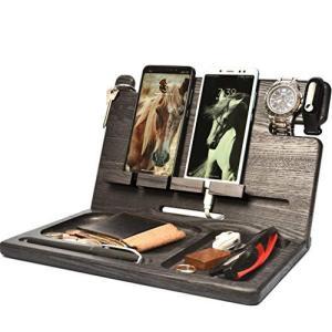 BarvA 木製ドッキングステーショントレイ 2つの携帯電話スマートウォッチホルダー メンズ 充電アクセサリー ナイトスタンド 父親 モバイルガジェッ|molto-bene