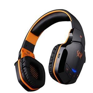 ワイヤレスゲームヘッドセット、B3505 V4.1 BluetoothゲームヘッドセットPC用マイク付きヘッドホンMacノートパソコン (オレンジ)|molto-bene