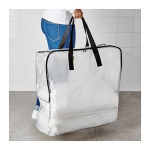 送料無料 IKEA イケア DIMPA 収納バッグ 収納袋 透明袋 衣類収納 お片付けアイテム チャ...