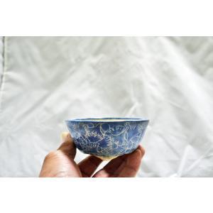 極上 和鉢 喜美子 盆栽鉢 釘彫藍色深丸鉢 3.5号 人気有名作家鉢 キミコ 小品 ミニ鉢 現品