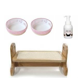 食器セット(ウッディーダイニングS・わんにゃん食器の洗剤本体300ml)+おいしく見えるニャン食器ミニ 2個|momo-tail